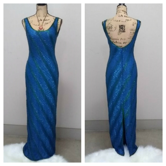 Scala Dresses & Skirts - SCALA Silk Beaded Gown Sz PS